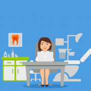 Female office staff worker using InSync Dental Office Software